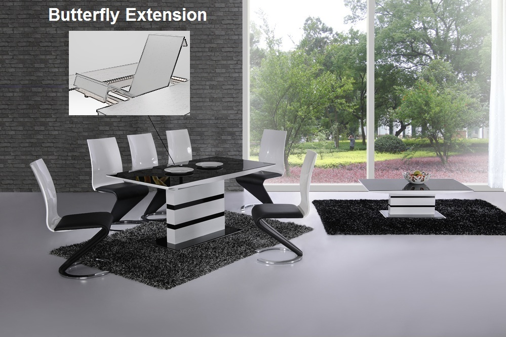 K2 White U0026 Black Glass Designer EXTENDING Dining Table Only OR With 4 / 6 Z  ...